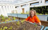 Kate Humble in the Aquaponics Solar Greenhouse at Humble by Nature
