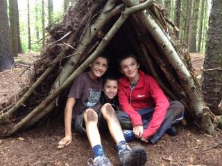 Holiday activities for Kid's Bush Craft Den Building at Kate Humble's farm Humble by Nature in Monmouth