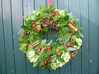 Learn to make a Christmas Door Wreath at Humble by Nature Kate Humble's farm in Monmouth