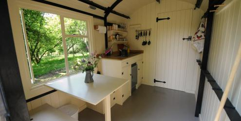 The Lamp Hut interior at the Humble Hideaway at Kate Humble's farm Humble by Nature