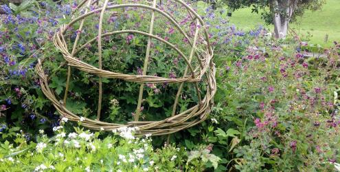 Willow plant supports: domes & pea frames at Humble by Nature Kate Humble's farm in Monmouth Wales