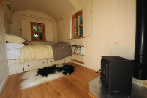 The Shepherd's Hut interior at the Humble Hideaway at Kate Humble's farm Humble by Nature
