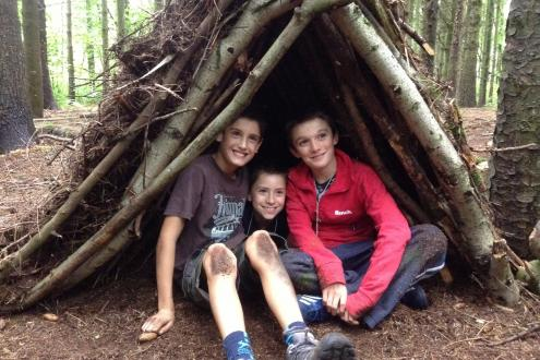 Holiday activities for Kids Bush Craft Den Building at Kate Humble's farm Humble by Nature in Monmouth