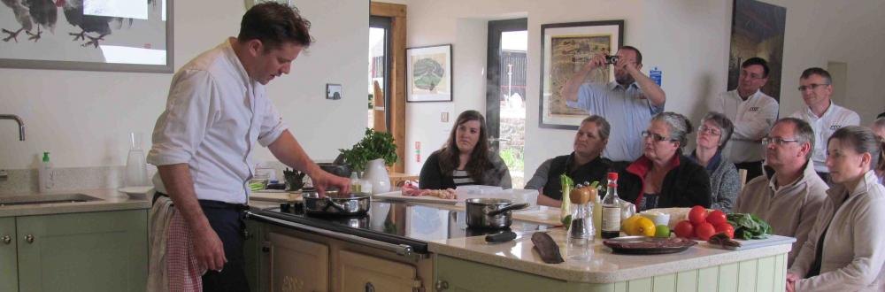 Matt Tebbutt cooking on the Esse range cooker at Kate Humble's farm Humble by Nature