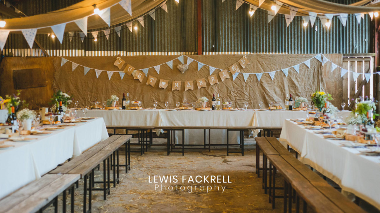 Rustic wedding in the Lambing Shed at Humble by Nature, Monmouthshire