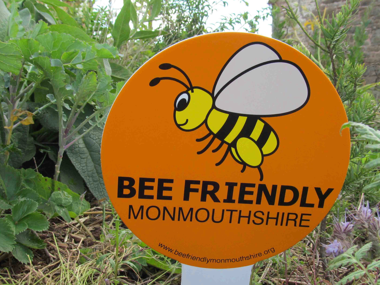 Bee Friendly sign in the Edible Garden