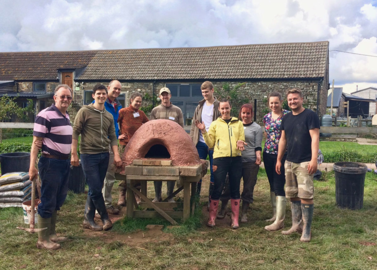 Pizza oven building group at Humble by Nature