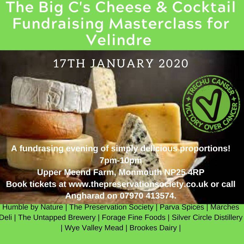 Cheese & Cocktail Masterclass Fundraiser for Velindre with The Preservation Society