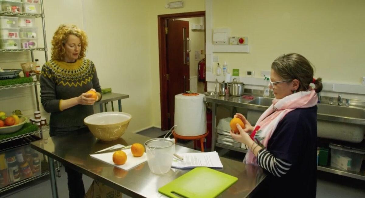 Kate Humble and Angharad The Preservation Society making marmalade