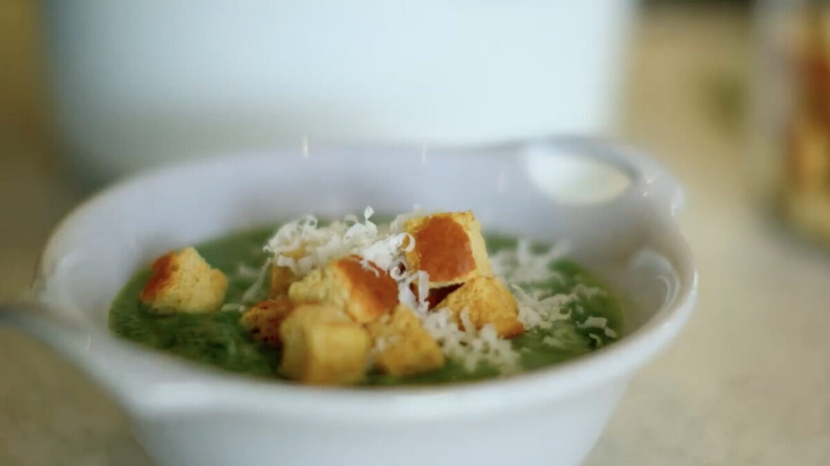 Spring in step foraged nettle soup from Kate Humble's Escape to the Farm