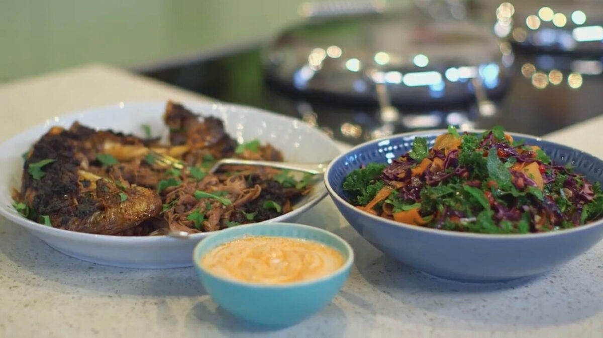 Middle eastern goat with slaw and harrisa yoghurt as made on Escape to the Farm Kate Humble
