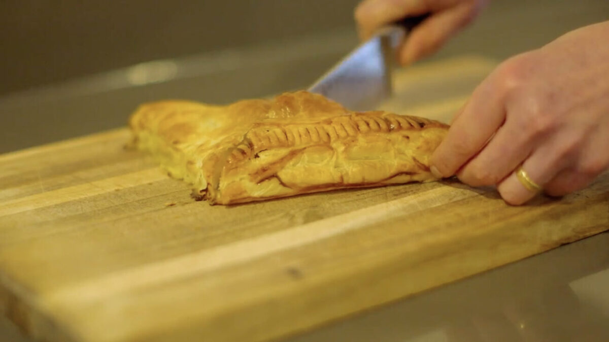spinach and feta parcel escape to the farm kate humble