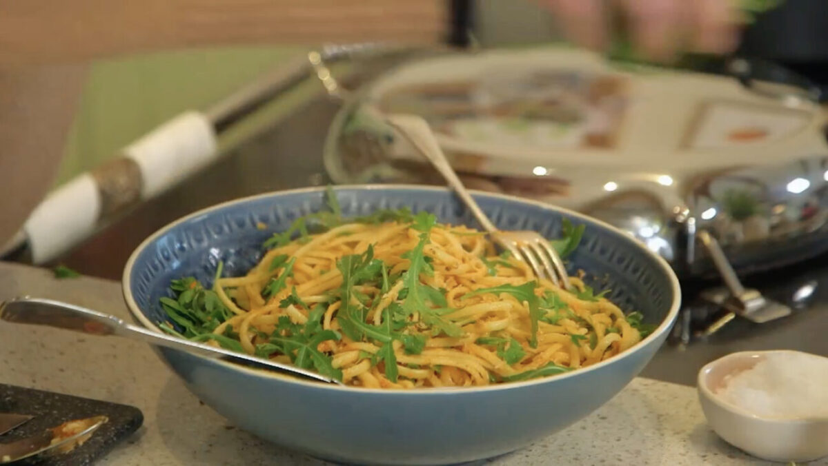 linguine with crab recipe escape to the farm Kate Humble