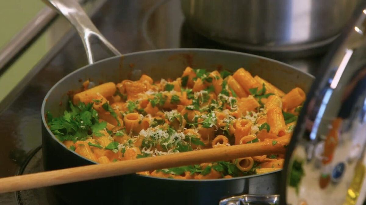 mushroom pasta recipe escape to the farm kate humble